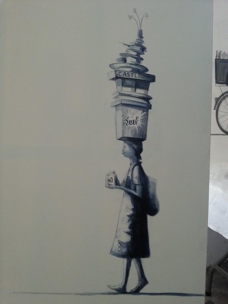 3.nTshebe range -Big monotone paintings - Everything but the kitchen sink 100 x 140cm